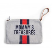 MOMMY'S TREASURES CLUTCH - GREY STRIPES RED/BLUE