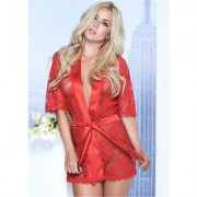 Lace Robe G-String Set Holiday Gift Guide - Red