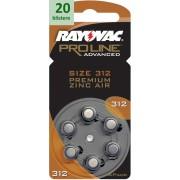 Rayovac 312 Proline Advanced Premium Zinc-Air - 20 blistere