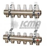 Distribuitor/colector cu robineti termostatici si robineti micrometrici ICMA 7 cai