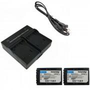 Ismartdigi FH100 baterias para camaras digitales + cargador doble - negro