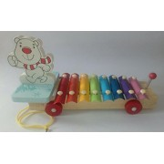 KIDSSHOPEE Multi Coloured Pull along Cartoon Xylophon with wooden beaters