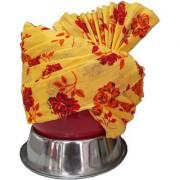 Madhu shree safa sherwani Yellow red printed flower jodhpuri redaymade safa for men