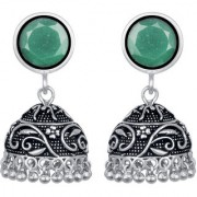 Fancy Emerald German Silver Oxidized Floral Artificial Jewellery Jhumka Earring Set For Women And Girls