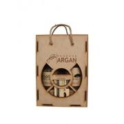 Set cadou rustic cutie lemn (Sampon cu ulei de argan Argana 400ml + Gel de dus cu ulei de argan Argana 400ml + Sapun Argana 40gr)