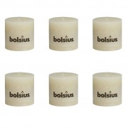 Bolsius Rustic Pillar Candles 6 pcs 100x100 mm Ivory