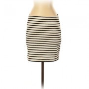 H&M Casual Skirt: Ivory Stripes Bottoms - Size Small Petite