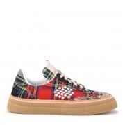 Be Positive Sneaker BePositive Aria in tessuto tartan rosso, blu e verde