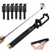 99 DEALS Selfie Stick With Aux Cable Wired Self Portrait Monopod Holder Compatible For Micromax Canvas Pulse 4G E451