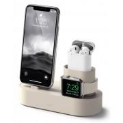 Elago Trio Charging Hub - силиконова поставка за зареждане на iPhone, Apple Watch и Apple AirPods (бяла)
