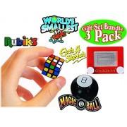 World's Smallest Rubik's Cube, Magic 8 Ball & Etch A Sketch Gift Set Bundle - 3 Pack by Super Impulse
