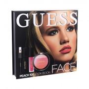 GUESS Look Book Face tonalità 101 Peach confezione regalo blush 14 g + gloss labbra Matte 4 ml + mascara Black 4 ml + matita occhi Black 0,5 g + specchio