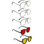 INSH Rectangular, Aviator Sunglasses(Red, Yellow, Clear)