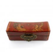 Caseta pentru bijuterii din lemn cu dragon si phoenix