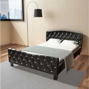 vidaXL Pat dublu cu saltea din spumă cu memorie, 140 x 200 cm, negru