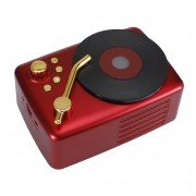T12 Retro Wind Portable Bluetooth 5.0 Wireless Speaker USB / TF Card Music Player Hifi Subwoofer - Red