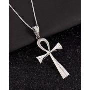 Dare by Voylla Glossy Cross Pendant With Chain In Sliver Plating For Men