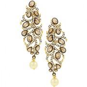 The Jewelbox Victorian Champagne Kundan Polki American Diamond Gold Plated Dangling Earring for Women