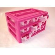 9 fiókos műanyag csavarbox 30x20x17 cm pink(1303)