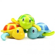 Fu T Set of 3 Baby Bath Toys Swimming Tub Bathtub Cute Swimming Turtle Toys Floating Wind-Up Bath Animal Boys and Girls for 1 Year Old to 3 Year Old for Blue Yellow Green