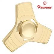 Premsons Fidget Spinner Metal Zinc Triangular Head Hand Spinner Ultra Speed Tri-Spinner Toy - Metallic Gold