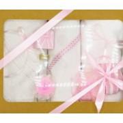 Trusou botez bentița roz in cutie cu capac natur