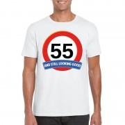 Bellatio Decorations Verkeersbord 55 jaar t-shirt wit heren