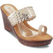 SOLE HEAD Women Gold Wedges