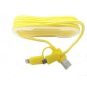 Cablu De Date 2 In 1 Iphone 5/6 + Micro Usb Galben pt Telefon Tableta