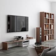 TemaHome Uitschuifbaar TV Meubel Move - 110/203x35x32 - Mat Wit - Walnoot