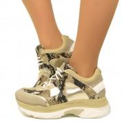 Sneakers Donna Pitonate con Lacci Fondo Platform Made in Italy T: 35, 36, 37, 38, 39, 40, 41
