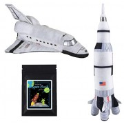 14 Plush NASA Space Shuttle & 17.5 Plush Saturn Rocket Ship Stuffed Toys Bundle with Bonus Prize