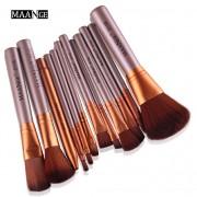 12 ks štetcov makeup béžová