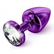 DIOGOL Anni - fehér köves análkúp - lila (3,5cm)
