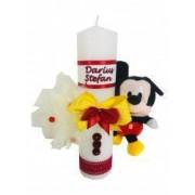 Lumanare botez personalizata prin broderie cu nume si cu jucarie Disney Mickey Mouse Dede Brodi Star