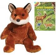Douglas Vixen Fox Pudgie Plush Animal with Forest Animals Sticker Book