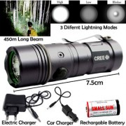 450 Meter Long Beam 3 Mode Rechargeable Waterproof Metal LED Flashlight Torch Outdoor Lamp Light Searchlight 10W