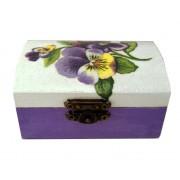 Cutie de bijuterii cu panselute violet