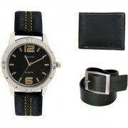 Crude Smart Combo Analog Watch-rg204 With Black Leather Belt Wallet for - Men's Boy's