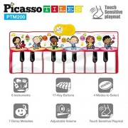 PicassoTiles PTM200 Portable Large Piano Keyboard Educational Music Mat Playmat w/6 Different Musical Instruments