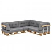 [en.casa]® Paletový nábytek - sada polštářů - světle šedá - model 8
