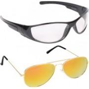 Aligatorr Aviator, Wrap-around Sunglasses(Clear, Yellow)