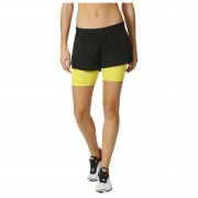 adidas Women's Gym Two-in-One Training Shorts - Black/Yellow - XS - Black/Yellow