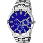 True Colors New Exclusive Blue Chronograph Dial Sliver Stainless Steel chain Watch - For Men