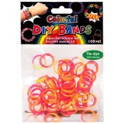 D.I.Y. Do it Yourself Bracelet Bands 100 Orange, Yellow & Pink Tie Dye Rubber Bands with Hook Tool & Buckles