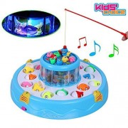 NSinc Go-Go Fishing Rotating Magnetic Fishing Game With Lights And Music, 26 Fishes And 4 Rods, 2 Rotary Fishing Pond & 4 Rods Includes Music and Lights Function, New 2018 version with rotating water wheel