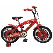 "Bicicleta pentru baieti Cars 16"", cadru din otel, roti pneumatice si roti ajutatoare"