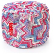 Style Homez Round Cotton Canvas Geometric Printed Bean Bag Ottoman Stool Large Cover Only Multi Color