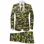 vidaXL Costum bărbați cu cravată, model camuflaj, mărime 50, 2 piese