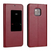 View Window Cowhide Leather Smart Phone Cover for Huawei Mate 20 Pro - Wine Red